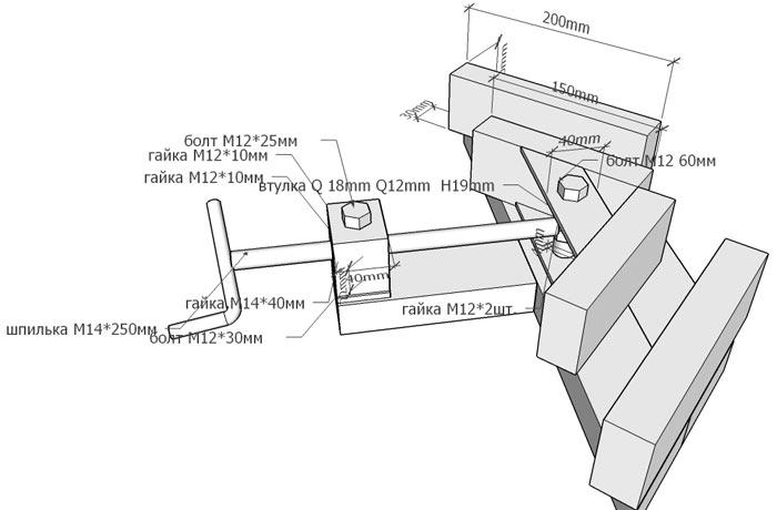 схема угловой струбцины